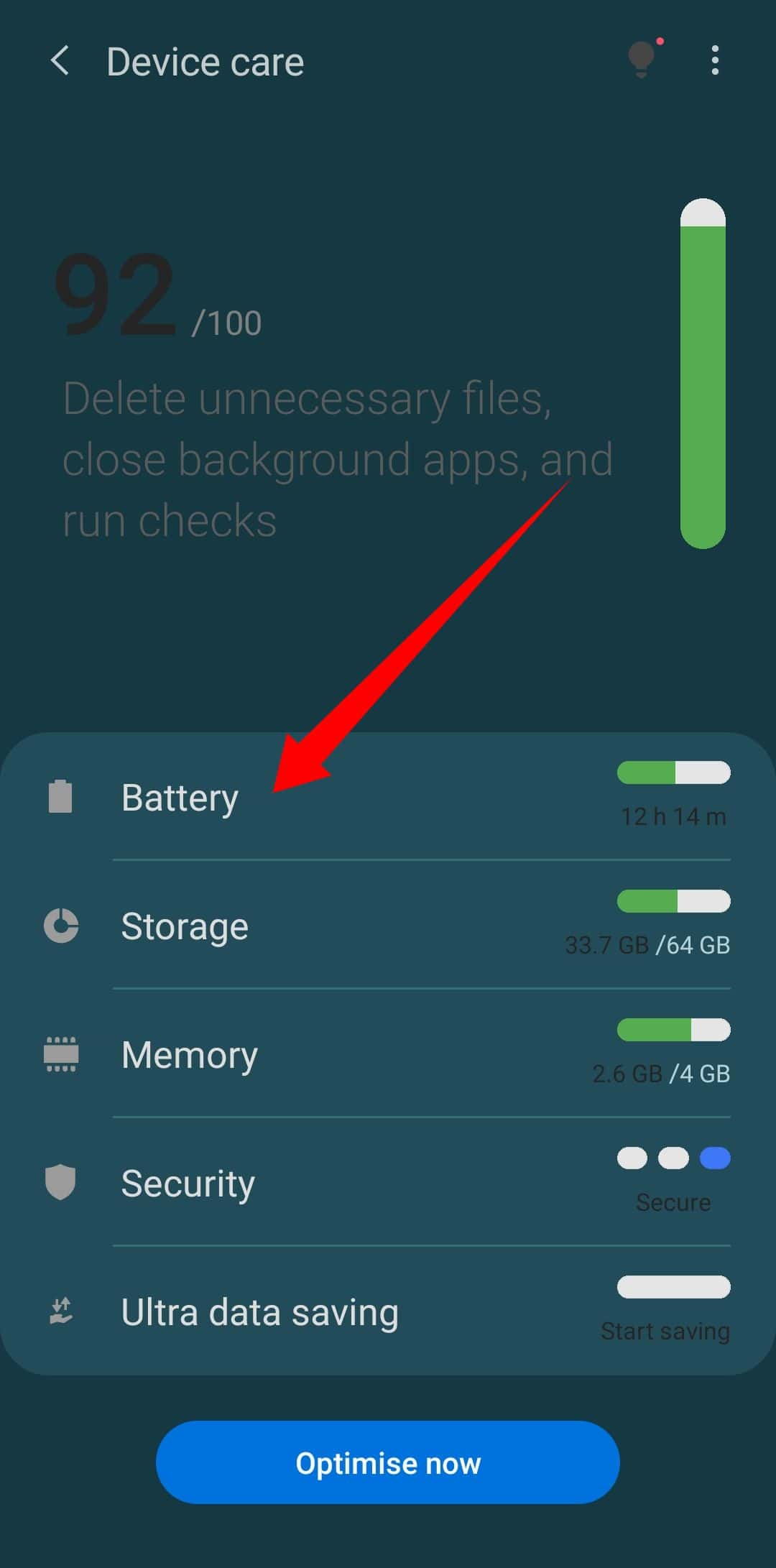 battery option in device care