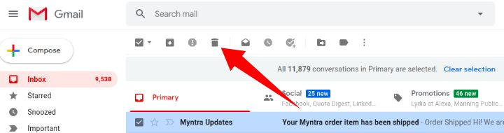 delete mail option in gmail