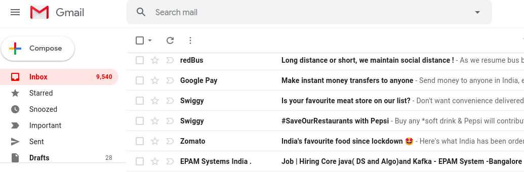 delete all mail in gmail